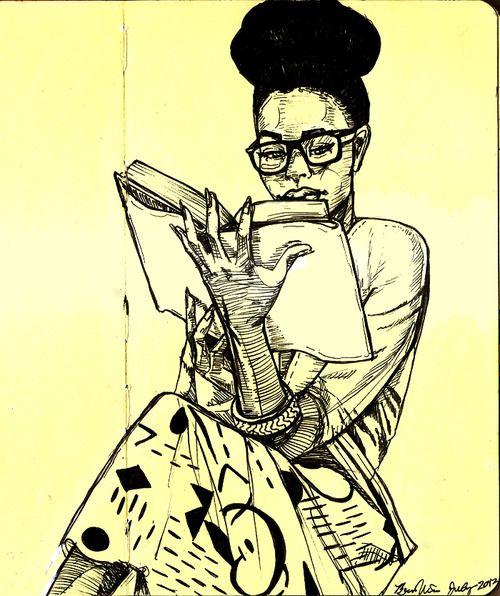 Cartoon image of woman reading book