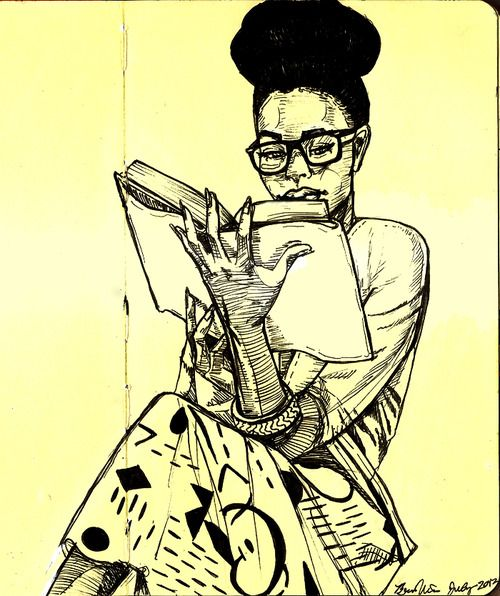 Cartoon image of woman reading book