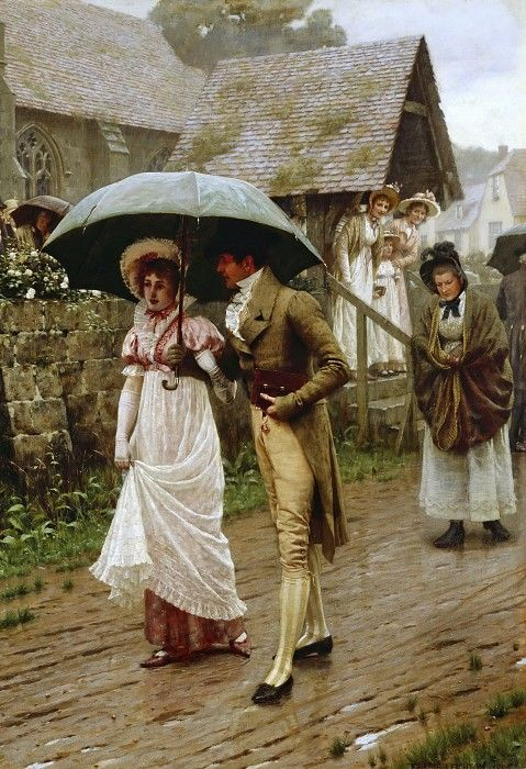 victorian couple walking in the rain
