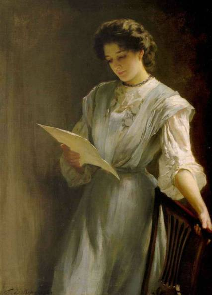 victorian woman grips chair as she reads letter