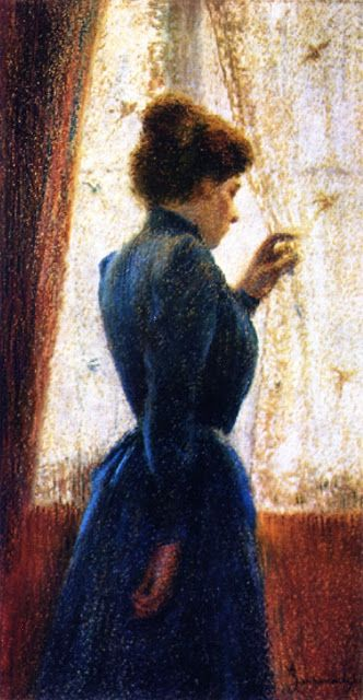 Victorian woman looking out window