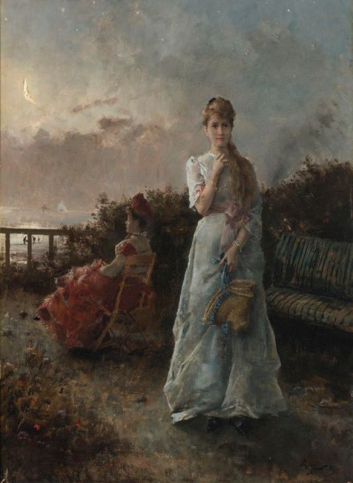 Young Victorian girl walking away from mother
