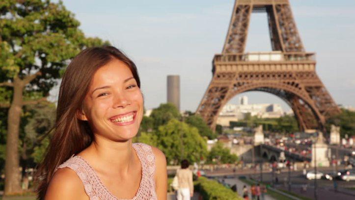 Asian woman in Paris