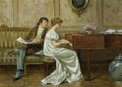 victorian gentleman and young lady at piano