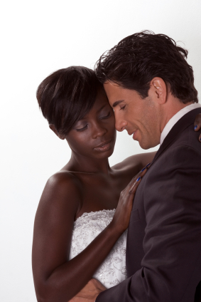 happy new wed interracial couple in wedding mood