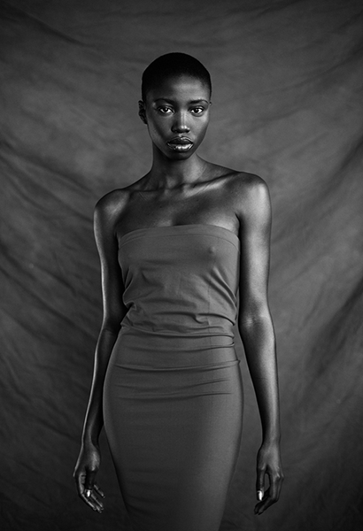 african woman in dress bw