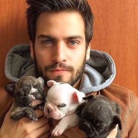 guy with puppies