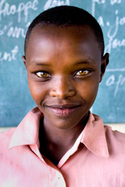 African girl with light eyes